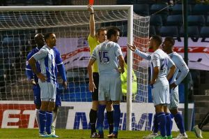 Danny Seaborne was sent off during a remarkable 4-2 defeat at Gillingham