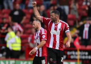 Michael Higdon scored on his league debut for the Blades.