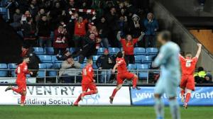 'It Happened Again!' Crewe celebrate a shock win in front of a packed Ricoh Arena.