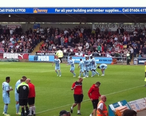The team celebrating 'Jim O'Brien's' winner against Sheffield United.