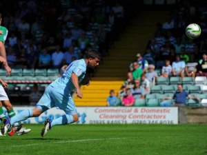 Cody McDonald giving Coventry City the lead on the first leg of the 'League One Tour'
