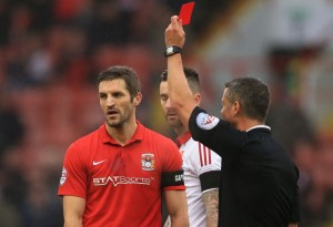Sam Ricketts' sending-off capped off a frustrating Sunday lunchtime clash with Sheffield United as the Sky Blues stalled in December.