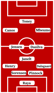 Possible Line-Up (4-3-3): Raya; Dalsgaard, Pinnock, Sorensen, Henry; Janelt, Dasilva, Jensen; Mbeumo, Canos, Toney.